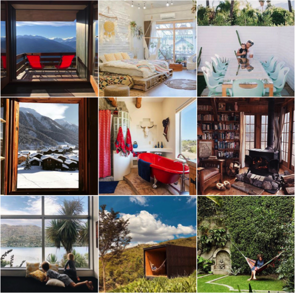 The Air BnB Instagram account's top nine photos show off sweeping scenery and cozy escapes.