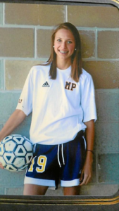 Brianna Zimmer, posing for soccer photos in high school.